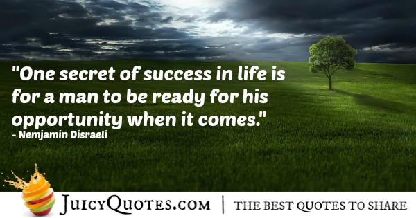 Quote About Success - Nemjamin Disraeli