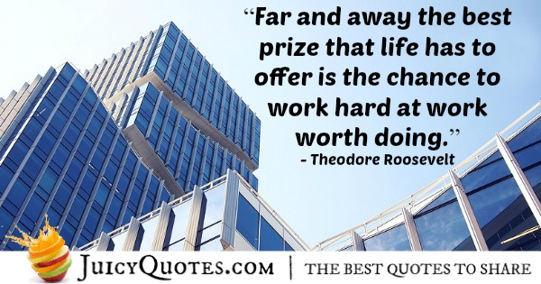 Quote About Work - Theodore Roosevelt