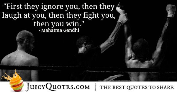 Mahatma Gandhi quote about winning