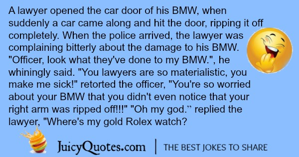 BMW joke about a lawyer driving and having an accident.
