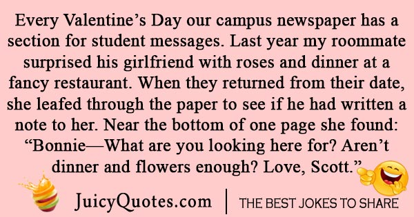 College Valentines Day joke