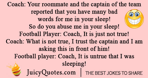 Football player and coach joke
