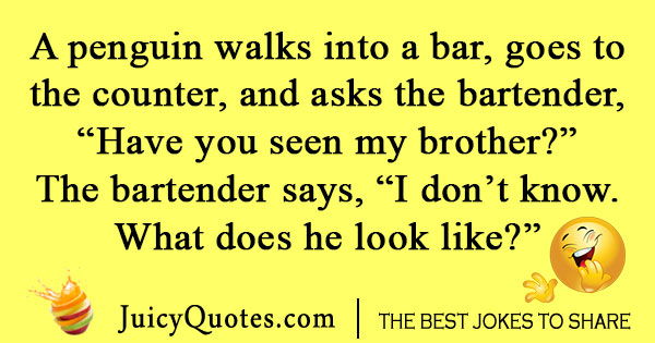 Penguin Walks Into a Bar Joke