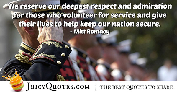 Admiration For Military Service Quote