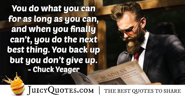 Back Up Don't Give Up Quote