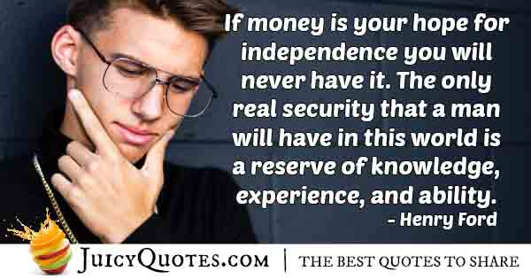 Money VS Security Quote