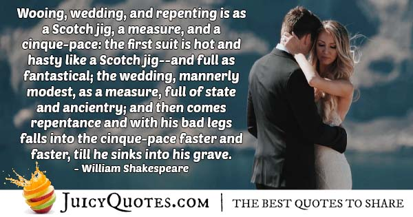 Wooing And Wedding Quote